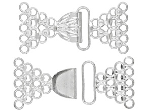Specialty Fold Over Clasp 3 Rings Silver Plated Set Of 2