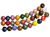 Mache-Mache Paper Beads 3 Strands Hand Painted And Glazed in Vivid Colors.  Each Strand Has 10 Beads