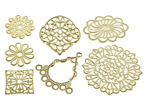 Yellow Gold Tone Iron Filigree Components 7 Different Designs Flowers, Dangle, Sq, Oval And Fancy