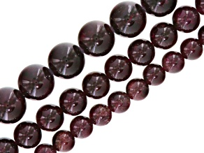 Garnet Set Of 3 Round Bead Strands includes Appx 6.5-7mm, 8.5-9mm & 11-12mm Appx 15-16