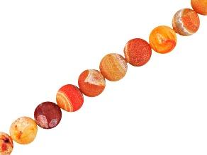 Frosted Orange Color Druzy Quartz Apx 12-12.5mm Round Shape Bead Strand