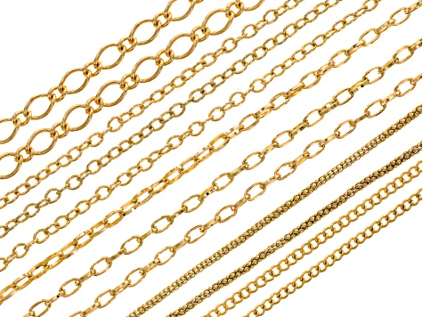 Chain Set Of 12 Assorted Style Gold Tone With Lobster Clasp Apx 18 inches Length