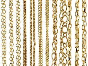 Chain Set Of 12 Assorted Style Gold Tone With Lobster Clasp Apx 24 inches Length