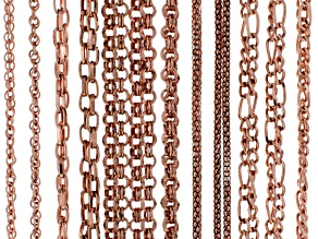 Chain Set Of 12 Assorted Styles Copper Tone With Lobster Clasp Apx 20
