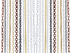 Chain Set Of 24 Assorted Style And Color Wth Lobster Clasp Apx 24