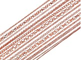Chain Set Of 24 Rose Tone Chain Necklaces in Assorted Styles, (12) 18