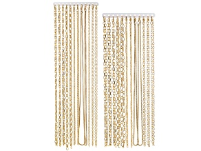 Chain Set Of 24 Gold Tone Chain Necklaces in Assorted Styles, (12) 18
