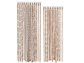 "Chain Set Of 24 Burnished Copper Color Chain Necklaces in Assorted Styles, (12) 18"" And (12) 20"""