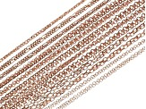Chain Set Of 24 Burnished Copper Color Chain Necklaces in Assorted Styles, (12) 18
