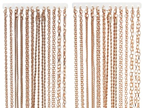 """Chain Set Of 24 Rose Tone Necklaces in Assorted Styles, (12) 18"""" And (12) 24"""""""