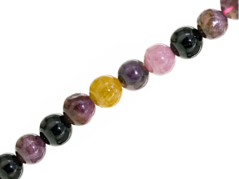 Multi-Tourmaline Appx 4mm Round Shape Bead Strand Appx 15-16