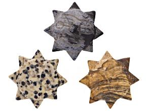 3 Pc Carved Sunstar Pendants 30mm in Jasper, Dalmatian Jasper, And Snowflake Obsidian