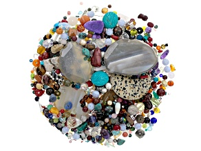 Gemstone One Pound Bag Of Beads, includes Gemstone And Manmade Beads.