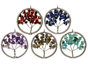 5 Piece Tree Of Life Assorted Chips Pendant Set: Coral, Lapis, Amazonite, Amethyst & Labradorite