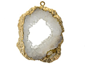 Gold Tone Electroplated White Crystal Pendant