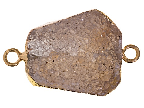 Druzy Quartz Gold Tone  Electroplated Free-Form Connector Pendant Colors Vary Appx 18x25-22x30 Mm
