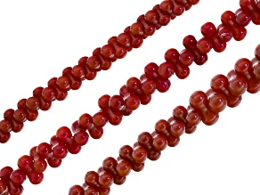 Red Coral Set Of 3  Peanut Cluster Beads Appx 3x6mm, 4x8mm & Graduated 3x6-5x10mm Strand Appx 15-16