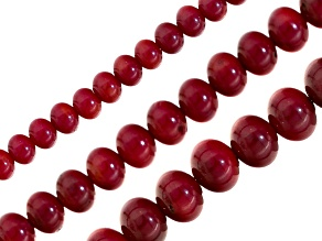 Red Coral Round  appx 4, 6 & 8mm Bead Strand Set of 3 appx 15-16