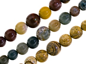 Mookaite, Fancy Agate & Jasper Mix & Sandstone Set Of 3 Round Bead Appx 6-14mm Strand Appx 15-16