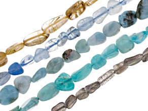 Gemstone Bead Strand Set/5: Amazonite, Labradorite, Larimar, Aqua & Rutilated Qtz Apx 15-16