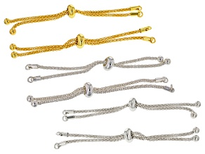 Sliding Adjustable Bracelet Making Chain 6 piece Set in Gold Tone & Silver Tone Appx 6