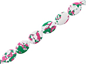 Spotted Pink, Green & White Mosaic Oval Beads Appx 12x17mm Strand Appx 15-16