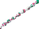 Spotted Pink, Green & White Mosaic Drop Beads Apx 8x12mm Strand Appx 15-16