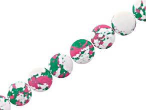 Spotted Pink, Green & White Mosaic Coin Beads Apx 16mm Strand Appx 15-16