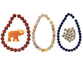 Ds Pachyderm Parade Safari Bead Set incl Aventurine Focal, Red Jasper,Quartzite,Lapis&Hematine Beads