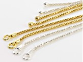 Sliding Adjustable Necklace Making Chain 4pc Set - Silver Tone & Gold Tone Appx 9