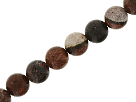 Mixed Ornamental Rock 8mm Round Bead Strand Appx 15-16