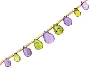 Rwanda Amethyst And Arizona Peridot 9pc Graduated Drop Beads Appx 6x4mm-8x6mm