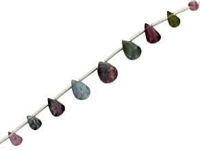 Multicolor Tourmaline 9pc Graduated Drop Beads Appx 5x3mm-8x6mm