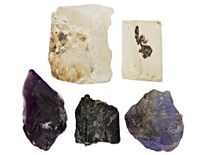Tanzanite, Amethyst, Tourmaline, Moonstone & Sunstone 5pc Total Rough Parcel Apx 25 Grams
