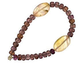 Oregon Sunstone Tumbles And Zircon Bead Combination Focal Strand