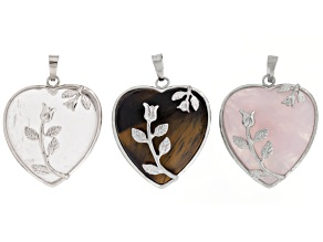 Quartz, Rose Quartz & Tiger's Eye Heart Shaped Pendant Set of 3 in Silver Tone Base with Bail