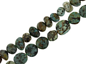 Turquoise Simulant Fancy Oval And Fancy Nugget Beads 2 Strand Set Appx 15-16