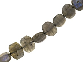 Labradorite Appx 9x12mm Faceted Oval Bead Strand Appx 7""