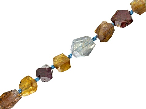 Multi-Sapphire And Zircon Hand Faceted Bead Strand Appx 16