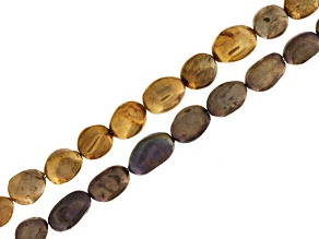 Labradorite Iridescent Coated Gray & Golden Irregular Oval Beads 2 Strand Set Appx 16