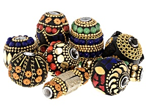 Old World Style Set Of 9 Aluminum & Brass Beads in Assorted Shapes, Sizes, And Colors