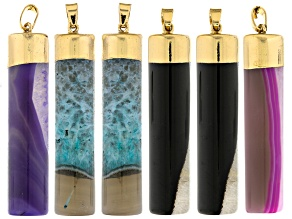 Agate Set/6 Pendants 14x58mm Cylinder Pendants in Pink, Green, Purple And Black