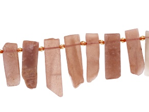 Peach Moonstone & Sunstone Appx 8x18 - 14x45mm Fancy Stick Bead Strand Appx 15-16
