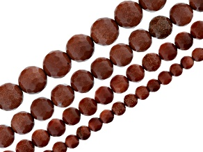 Brown Goldstone 4 Strand Set Of 5-6, 7-8, 9-10 & 11-12mm Faceted Round Beads Appx 14