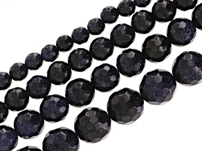 Blue Goldstone 4 Strand Set Of 6, 8, 10 & 12mm Faceted Round Beads Appx 14