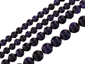 Blue Goldstone appx. 5-6, 7-8, 9-10 & 11-12mm Faceted Round Strands APPX 14