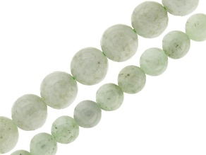 Jadeite 2 Strand Set: 5-6mm And 8mm Round Bead Strands Appx 15-16
