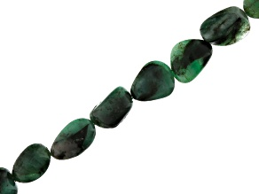 Emerald Appx 7x8mm-8x13mm Tumble Bead Strand Appx 18