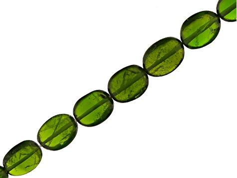 Chrome Diopside Slightly Graduated Apx 5x6-7x9mm Smooth Oval Bead Strand Apx 18