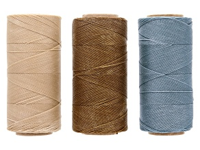 Waxed Jewelry Cord Set Of 3 Spools Apx 360yd Each 0.50mm Cord in Antique White, Java & Lagoon
